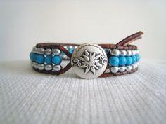 triple row leather wrap bracelet