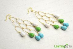 """DIY Chandelier Earrings - How to Make Chandelier Earrings - Pandahall.com... Our """"how to make jewelry"""" tutorial is going to show you a fast-to-learn way for making DIY chandelier earrings with eye pins and turquoise beads."""