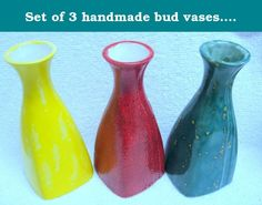 "Set of 3 handmade bud vases. Made by Native American artist (Nez Perce). The price is for all three bud vases which can also be used as decanters, specifically sake decanters. the stand 7"" tall and are glazed inside and out so are food safe and dishwasher safe. I do have individual decanters on Amazon sold separately. Check those out. If you order it I know you'll love it. I have been a clay artist for over 35 years and am Duncan Certified. I am also an instructor and part Native American…"