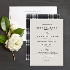 Elegant Tartan Wedding Invitations perfect for a winter wedding