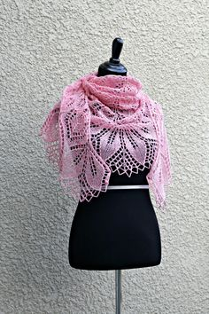 Knit shawl in wool in soft pink (slightly heather shade) color. It is very laced and delicate and yet warm an cozy. Simple flower ornament adds a roman. Bridal Shawl, Wedding Shawl, Bridesmaid Shawl, Bridesmaid Gifts, Pink Shawl, Lace Knitting, Knit Lace, Flower Ornaments, Knit Wrap