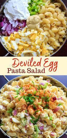 Check out the recipe for this deviled egg macaroni pasta salad! Light on the may. - Check out the recipe for this deviled egg macaroni pasta salad! Light on the may. Check out the recipe for this deviled egg macaroni pasta salad! Best Salad Recipes, Healthy Recipes, Pasta Salad Recipes Cold, Summer Pasta Salad, Summer Salad Recipes, Cold Pasta Salads, Light Pasta Salads, Light Pasta Recipes, Pasta Lunch