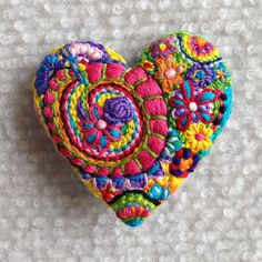Freeform embroidery heart brooch  Brooch 80 by Lucismiles on Etsy