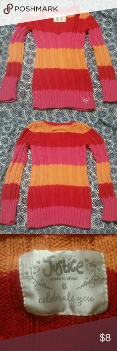 Adorable Sweater Girl's Justice striped sweater. Warm and cozy! GUC!  I love getting deals so I know you do too! Bundle your likes for a private offer! Justice Shirts & Tops Sweaters