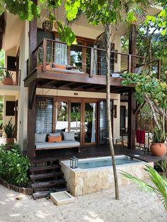 Village House Design, House Front Design, Village Houses, Small House Design, Dream Home Design, Modern House Design, Villa Design, Tropical House Design, Tropical Houses