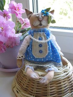 Купить Мурка - голубой, кошка игрушка, кошка, венок из цветов, венок с цветами