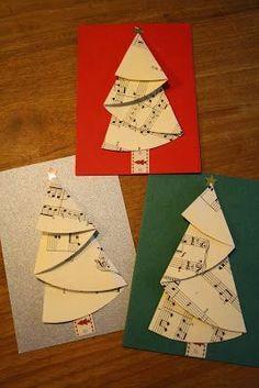 Felt Christmas Decorations, Christmas Card Crafts, Christmas Tree Cards, Christmas Paper, Handmade Christmas, Christmas Ornaments, Simple Christmas Cards, Homemade Christmas Cards, Sheet Music Crafts