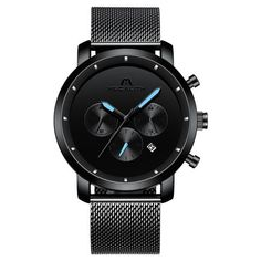 MEGALITH Fashion Sports Quartz Watches Men Waterproof Chronograph Watches For Men Top Brand Luxury Male Clock Relogio Masculino From Touchy Style Outfit Accessories ( mesh black ) Cheap Watches For Men, Big Watches, Vintage Watches For Men, Seiko Watches, Luxury Watches For Men, Sport Watches, Black Watches, Analog Watches, Leather Watches