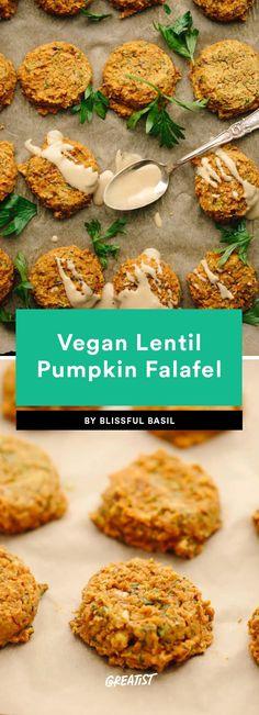 Falafel Recipe: 9 Ways to Make Your Favorite Mediterranean Meal Vegan Pumpkin, Pumpkin Recipes, Lebanese Falafel Recipe, A Food, Food And Drink, Spicy Cauliflower, Baked Falafel, Mediterranean Recipes, Pumpkins
