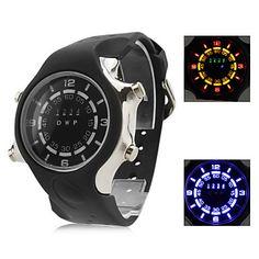 des hommes et des femmes de silicone multifonction numérique montre-bracelet à LED avec boîtier de la montre (noir) – EUR € 17.47