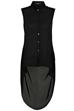 Triangle-shape Cut-Out Black Shirt #romwe