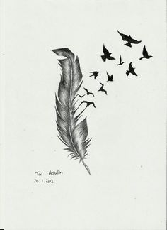 Feather Bird Tattoo Drawings | Feather By Talucifer On DeviantART