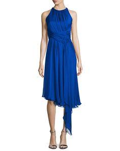 TBQK1 Carmen Marc Valvo Sleeveless Asymmetric Cocktail Dress