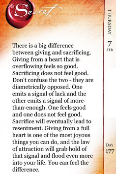 Secret of the day: giving from the heart v.s sacrificing