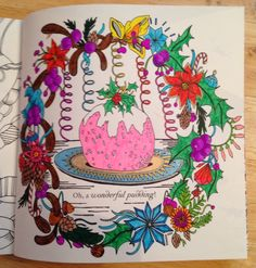 from the book Escape To Christmas Past by Good Wives and Warriors. Colored by Michele Hauf using markers, gel pens