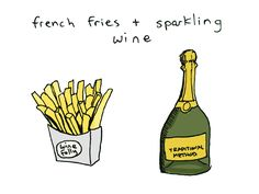 #PerfectPairing - Traditional Method sparkling wine with French Fries. Try LMawby Talismøn with your next batch of salty fries. www.lmawby.com | Image & pairing via Wine Folly.