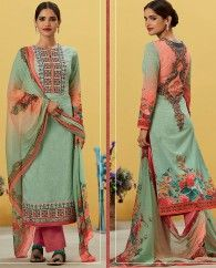 1. Light green Pure lawn cotton long suit 2. Embellished neck line, sleeves and hem with floral embroidery 3. Comes with a matching pure cotton bottom and pure bemberg chiffon dupatta 4. Can be stitched upto bust size 42 inches
