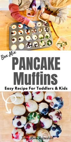 An easy pancake muffin recipe for kids and toddlers. Have your toddler or kid add in their favorite healthy toppings to these mini pancake muffins from a box mix, or use your favorite pancake batter recipe! recipes easy for kids Pancake Muffins Pancake Muffins, Pancakes Easy, Mini Muffins, Pancakes Kids, Make Ahead Breakfast, Breakfast Recipes, Easy Kid Breakfast Ideas, Breakfast Kids, Southern Breakfast