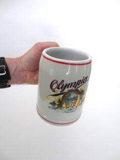 Olympia Beer Stoneware Stein Mug - Good Luck Golden Horseshoe - Beer Lover Gift for Him Jackpot Jen Vintage by JackpotJen on Etsy
