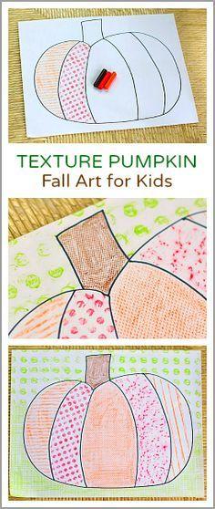 Fall Art Project for Kids: Texture Pumpkin- Create pumpkin art with crayon rubbings of various textures! Great for Halloween. Fun pumpkin craft for kindergarten, first grade and on up!