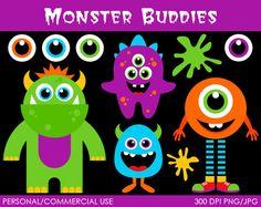 Monster Buddies Clipart  Digital Clip Art by MareeTruelove on Etsy, $5.00