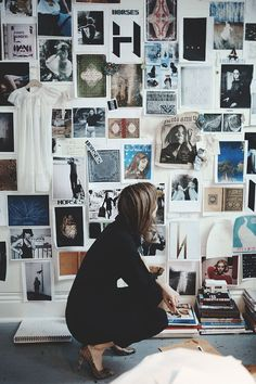 Heidi Sopinka in front of the inspiration wall at the Horses Atelier studio | Block Print Social