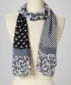 Another great find on #zulily! Black & White Stripe & Animal Scarf #zulilyfinds