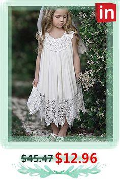 Off Kids Girls' Daily Lace Sleeveless Dress Baby Girl Party Dresses, Little Girl Dresses, Flower Girl Dresses, White Maxi Dresses, Cute Dresses, White Dress, Chic Outfits, Kids Outfits, Girls Dresses Online