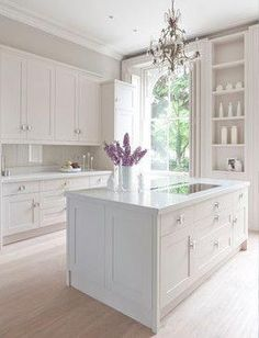 Staggering Useful Ideas: Kitchen Remodel Ideas Traditional kitchen remodel green subway tiles.Kitchen Remodel Tips Builder Grade kitchen remodel fixer upper paint colors.Kitchen Remodel With Island Counter Tops. Off White Kitchens, Off White Kitchen Cabinets, Kitchen Cabinet Design, Interior Design Kitchen, Kitchen White, White Cabinets, Kitchen Shelves, White Kitchens Ideas, Closed Kitchen Design