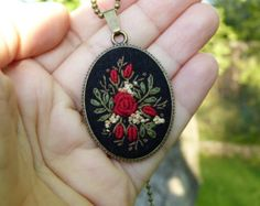 Embroidery necklace Landscape Africa pendant by EmbroideredJewerly
