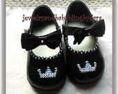 Baby Bling Infant Toddler Brown Patent Swarovski Crystal Tiara or Initial Dressy Shoes Available in Sizes 2 to 8