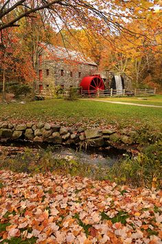 5 Fantastic Fall Views in Massachusetts | Massachusetts Fall Foliage, This is Wayside Inn Grist Mill in Sudbury. Mass.