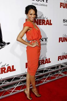 "Zoe Saldana at the World premiere of ""Death At A Funeral"" held at the Arclight Cinerama Dome, Hollywood."