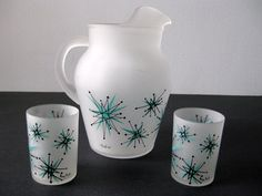 Vintage mid century atomic pitcher and glasses