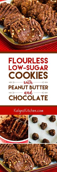 Flourless and Low-Sugar Cookies with Peanut Butter and Chocolate; these cookies will hit the spot when you're craving chocolate! Cookies are low-sugar and gluten-free.  [found on KalynsKitchen.com]