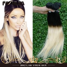 (82.35$)  Know more  - Brazilian Virgin Hair Ombre Two Tone Straight Weave Blonde Color 613 Straight Virgin Human 7a Brazilian Virgin Hair Straight