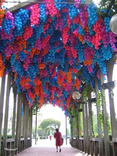 Pergola by Claude Cormier + Associés Inc. at Le Havre's Contemporary Art Biennale,  The installation made of 90,000 plastic balls is a tribute to Le Havre-born Monet