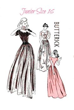 """Love the description on this one!  """"This enchanting young dress will be the target for many a pretty compliment.""""  1940s EVENING GOWN Sewing Pattern  Butterick by KeepsakesStudio, $23.99"""
