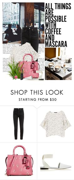 """""""Buzz-Worthy: Coffee Date"""" by beautifulplace ❤ liked on Polyvore featuring Coffee Shop, RE/DONE, MANGO, Coach 1941, Senso, MAC Cosmetics and CoffeeDate"""