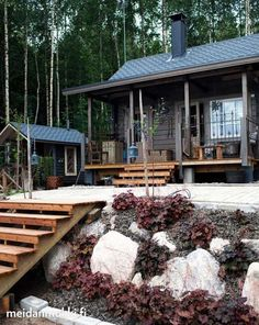 are visiting Auntie's woodsy cabin today for our annual fall family dinner. Cottage Porch, Cottage Plan, Small Summer House, Scandinavian Cabin, Dark House, House Landscape, Cabin Homes, Cabins In The Woods, Cabana