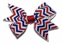 """Red, white & blue 4th of July chevron print 3.5"""" double loop grosgrain bow"""