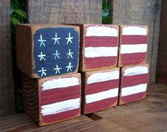 Treasured Shabby Chic Rustic Old Glory Wooden Blocks. $10.00, via Etsy.