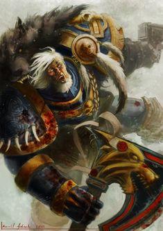 "inquisitors-art-gallery: ""Space Wolfby Sarmati vs Black Templar Sword Brethren by kirimitsu """