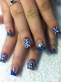 Add American flag on all except add rebel flag on ring finger Camo Nail Art, Camouflage Nails, Camo Nails, Cute Nail Designs, Acrylic Nail Designs, Acrylic Nails, Acrylics, Fingernail Designs, Redneck Nails