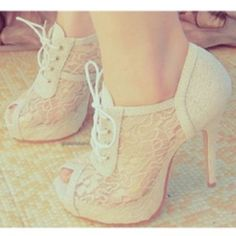 Lace shoes <3 It is just an image but I found them in ''Where to get it''... but I couldnt find a link to buy them...lots of them were sold http://wheretoget.it/look/244461#garment-1 and in  http://wheretoget.it/tag/white+lace+heels/6847it has similar to them... |Follow me for a follow back <3 <3
