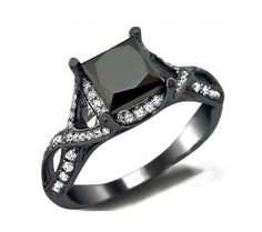 2 2/5 ct. tw. Black Spinel & Cubic Zirconia Princess Cut Ring in 14k Black Gold Plated Over Sterling Silver
