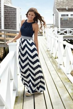 nautical blue top and chevron stripe skirt dress