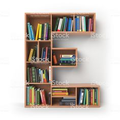 Picture of Letter E. Alphabet in the form of shelves with books isolated on white. illustration stock photo, images and stock photography. Bookshelf Design, Wall Shelves Design, Pallette Furniture, Home Furniture, Bookshelves Kids, Book Shelves, Home Libraries, Home Organization Hacks, Decorative Storage