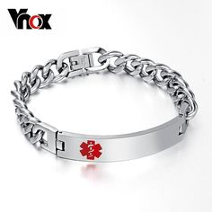 Engraving Name Medical Bracelet & Bangles ID Tag Stainless Steel Chain for Women / Men Like and share if you think it`s fantastic! #Jewelry #shop #beauty #Woman's fashion #Products
