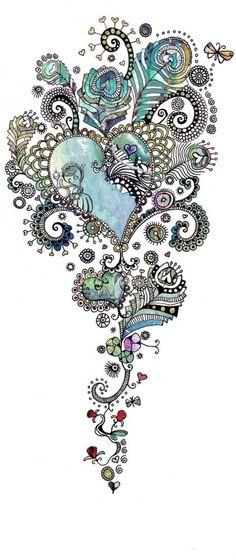 """that's a tattoo idea! [ """"Cool blue heart tattoo idea--it Future Tattoos, New Tattoos, Body Art Tattoos, Tatoos, Sternum Tattoos, Arm Tattoo, Pretty Tattoos, Beautiful Tattoos, Mehndi"""